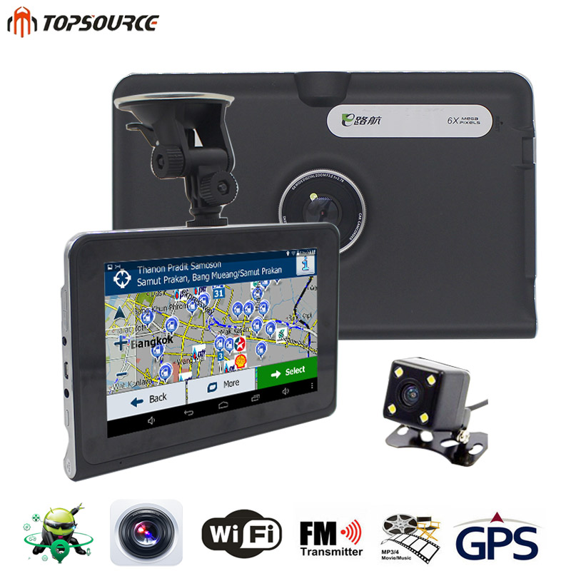 TOPSOURCE 7'' Car GPS Navigation 16G/512MB AVIN android with DVR rear view automobile navigator or navitel Map truck gps sat nav topsource 7 spian android car gps navigation europe usa uk truck gps navigator wifi 512m 16gb russian gps map for navitel