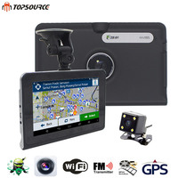 TOPSOURCE 7'' Car GPS Navigation 16G/512MB AVIN android with DVR rear view automobile navigator or navitel Map truck gps sat nav