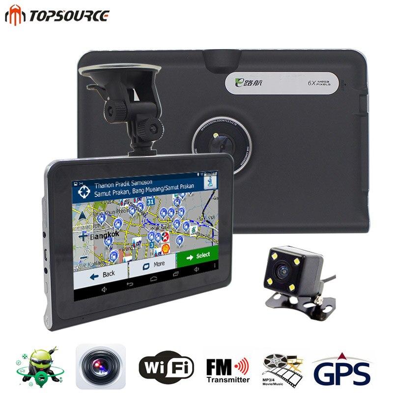 Topsource 7 ''автомобильный GPS навигации 16 г/512 МБ AVIN Android с dvr заднего вида Автомобильный навигатор или навител Географические карты грузовик GPS навигатор