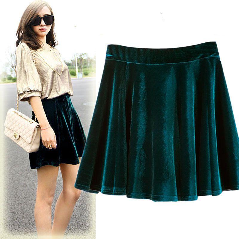 High Waist Short Skirt Women Elastic Waist Flare Mini Skirt Elegant Pleated Velet Skirts Female For Spring Summer Female Clothes