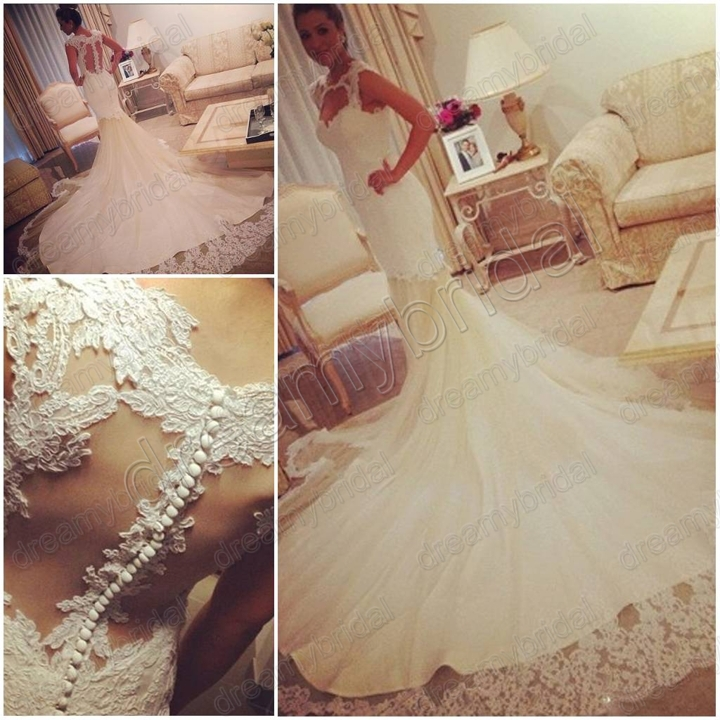 Crystal Bodice Wedding Gown: Real Sample High Neck Crystal Beaded Bridal Gown Mermaid