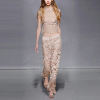 Crop Top And Skirt Set Europe and America fashion summer new lace shirt suit Chiffon jacket + wide leg pants two pieces