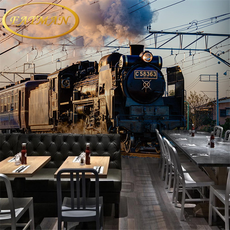 Custom photo wallpaper 3D nostalgic train head wallpaper mural clothing store mural Cafe Restaurant bar painting wallpaper custom mural 3d korean cuisine wallpaper leisure bar restaurant theme hotel snack shop background beverage food wallpaper mural