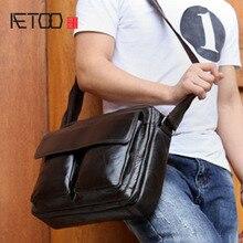 лучшая цена AETOO Vintage Men's Leather Genuine Men's Business Bag Postman Briefcase Head Cream Shoulder Bag Messenger Oil Wax