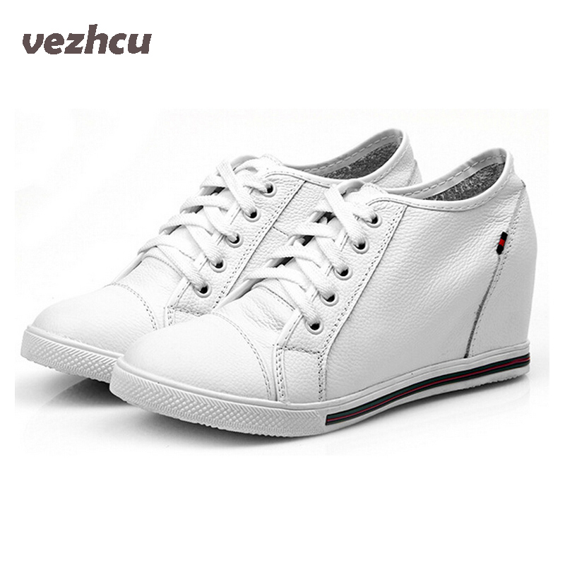 VZEHCU Fashion women genuine leather shoes Height increasing wedges Shoes woman leather cowhide  Lace up black&white 5c204 hee grand fashion height increasing women shoes zip white black women casual pumps wedges shoes drop shipping xwc471