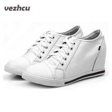 VZEHCU Mode femmes chaussures en cuir véritable Hauteur croissante compensées Chaussures femme en cuir de vache Lace up noir et blanc 5c204