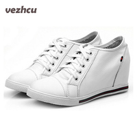 Fashion Women Genuine Leather Shoes Height Increasing Wedge Shoes Woman Leather Cowhide Lace Up Black White