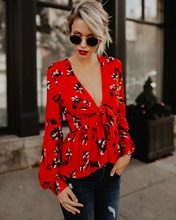 v neck shirt red floral long sleeve blouse PU27