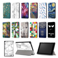 For Amazon Kindle Fire HD10 2017 Ultra Thin Tri Folding PU Leather Smart Cover For Amazon