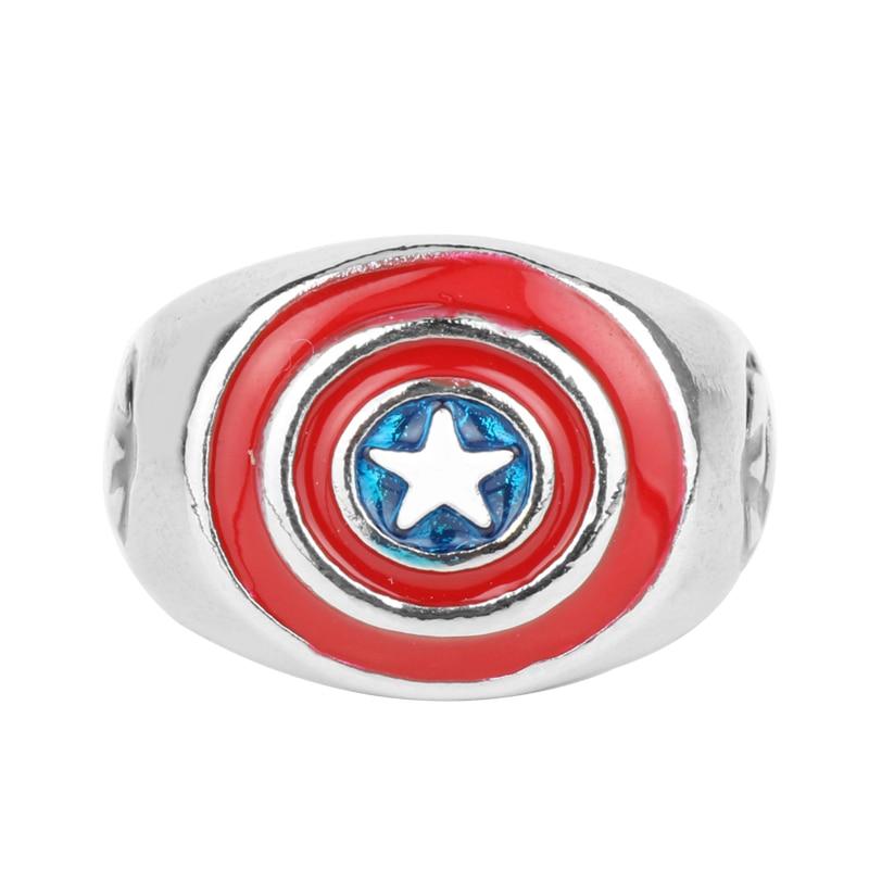 Wholesale Marvel Comic Men's Alloy Captain America Logo Avengers Mens Ring Size 7-12