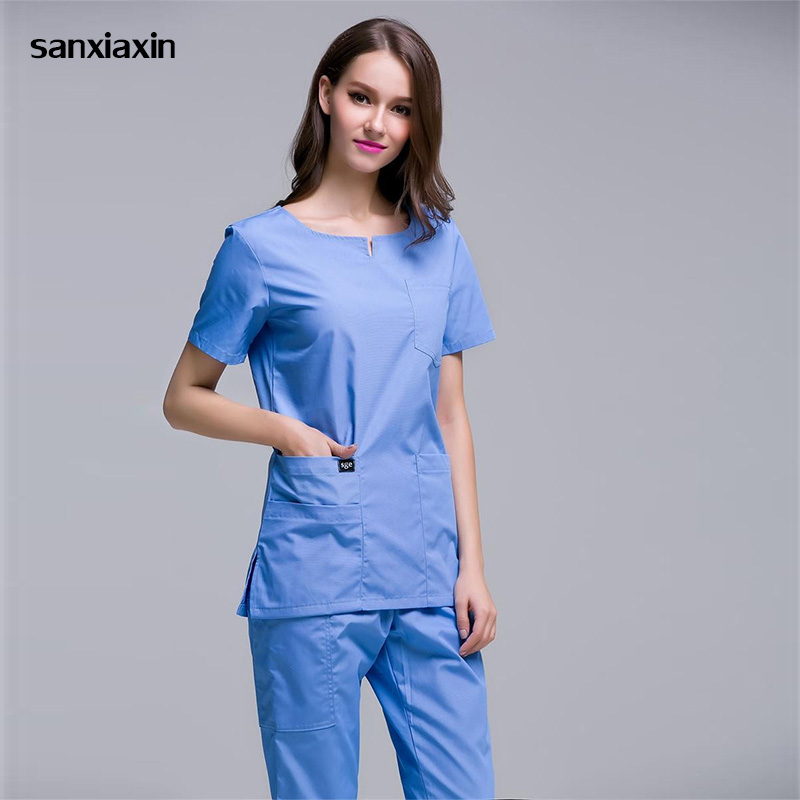 Sanxiaxin Hospital Medical Scrub Clothes Dental Clinic And Beauty Salon Nurse Uniform Slim Fit Surgical White Coat Spa Uniform