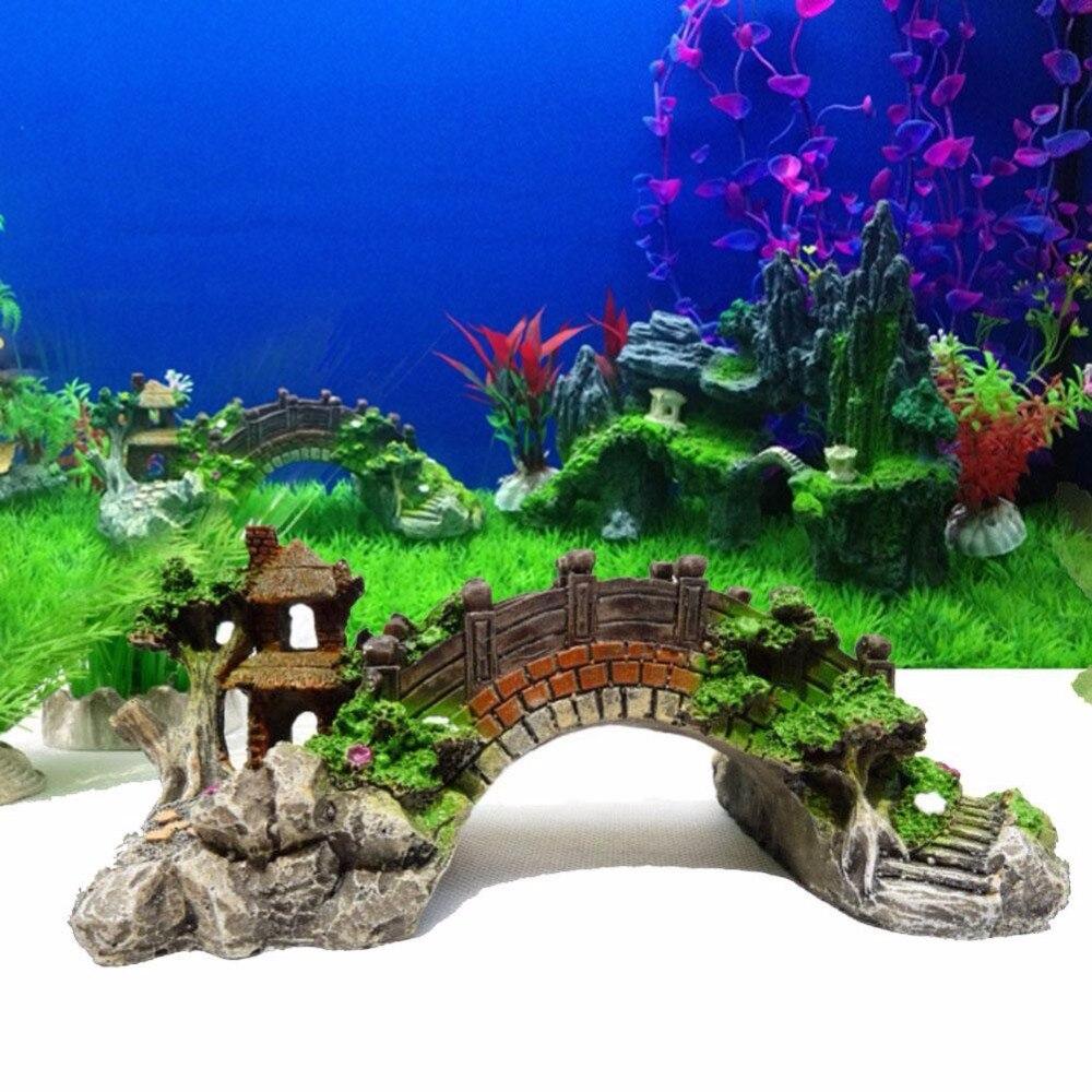 Fish tank toys - High Quality Polyresin Gift Toy Decor Aquarium Fish Tank Rockery Bridge Design Craft Ornament Aquarium Supplies
