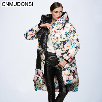 CNMUDONSI Women 2018 Winter  Hooded Long Down Jacket Coat Female Fashion European Large Size Warm Snow Outerwear Clothing