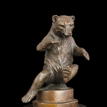 100% Real Bronze Modern Brass Bear Sculptures Statue With Marble Base For Home Decoration