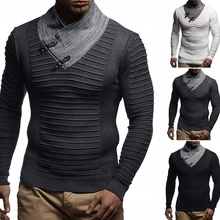 ZOGAA Mens High-necked Sweaters Irregular Design Top Male Sweater Solid Color Casual Pullover For