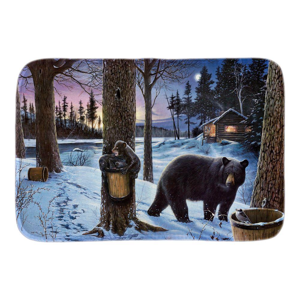 Ingresso Zerbino Decorato con Natura Orso Whild In Inverno Luna - Tessili per la casa