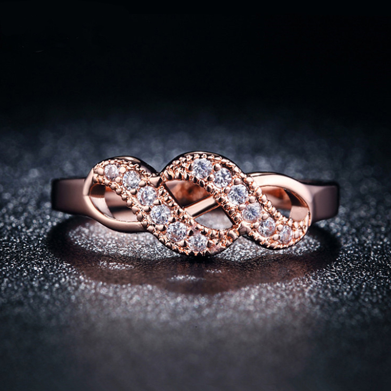 Vintage Infinity pink Rose Gold 585 Plated Rings for women Wedding Knuckle jewelry female crown bijoux aros anel alliance LJ004