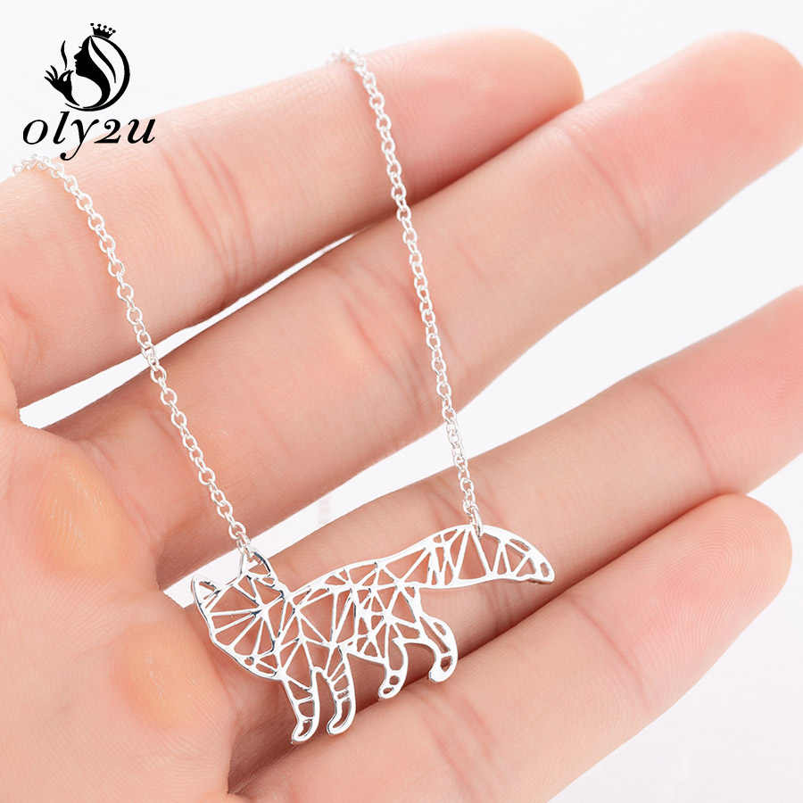 Oly2u Animal Fox Origami Necklace For Women Choker Stainless Steel Pendant Necklaces Long Chain Statement Necklace bijoux