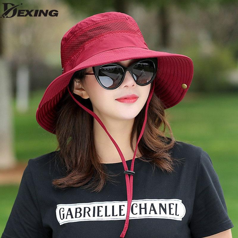 Summer Bucket Hat Breathable Mesh Beach Hats Man Wide Brim Sun Gorra ... 77782c121