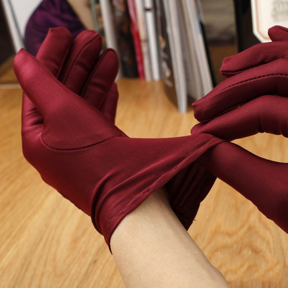 1Pair Summer Super-elastic Short Gloves Design Sun-shading Sunscreen Oversleeps Slip-resistant Female Gloves #5