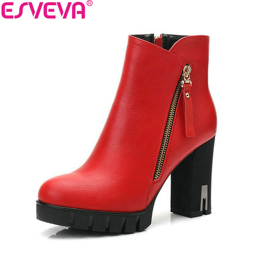 ESVEVA 2019 Women Boots Shoes Platform Round Toe Zipper Ankle Boots Square High Heels Short Plush Winter Shoes Woman Size 34-43 колготки детские брестские