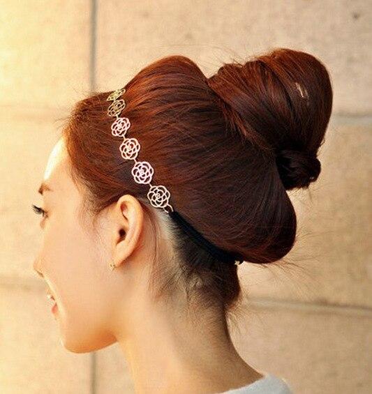 2016 Fashion New Womens Metallic Hollow Rose Flowers Elastic Hair Band Headband Hair Acc ...