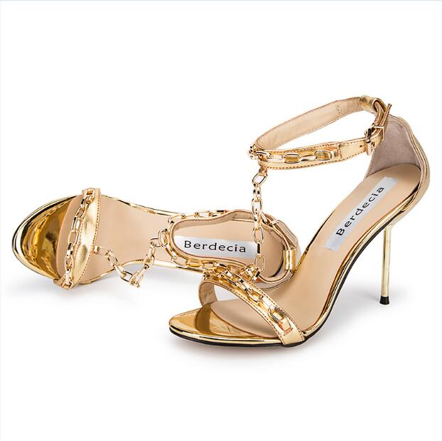 ФОТО Chuassure female sandals open toe buckle decoartion mental chain decoration T-strap women sexy high heel strappy sandals gold