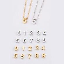 Lucky número colar e pingente para mulheres e homens, aço inoxidável 0-9, sorte número, colares amor presente para casal