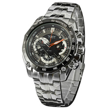 Men Military Outdoor Quartz Wrist Watch Stainless steel Band Sub Dial Auto Date Tachometer Multifunction BOX