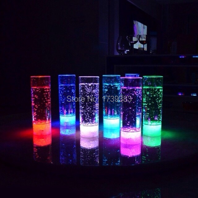 2PCS Adjustable Color changeable 300ml Acrylic Flash font b LED b font Tall Drinking HighBall Glasses