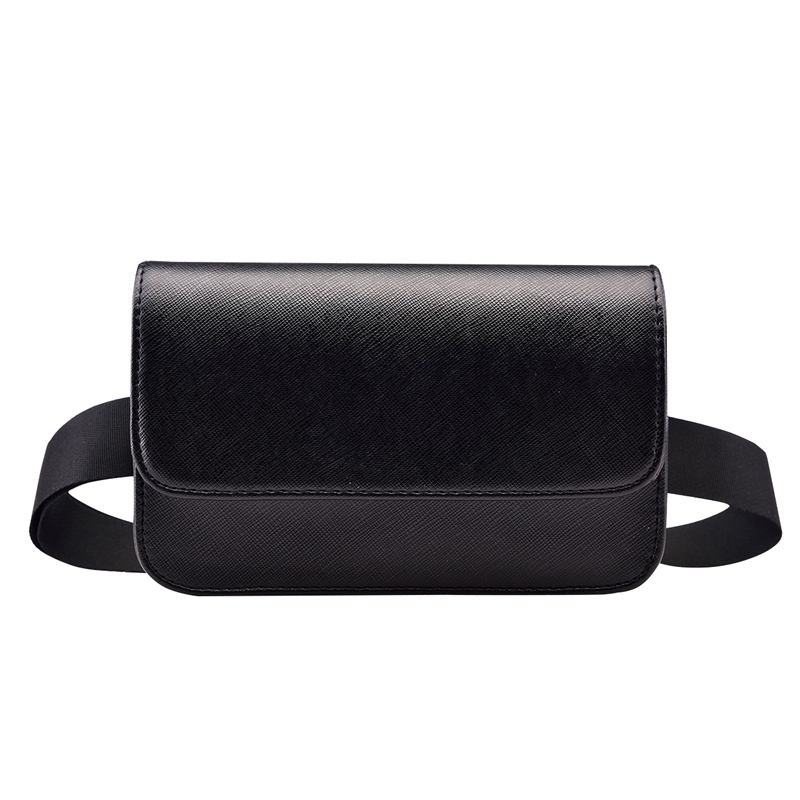 Solid Casual Women Waist Bag PU Leather Black Fanny Pack For Women Brief Design Ladies Small Bags