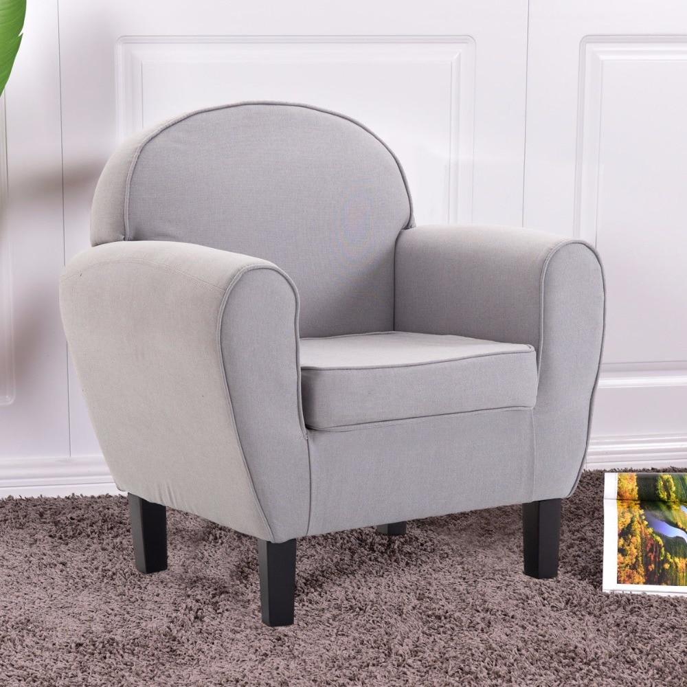 Goplus Arm Chair Modern Single Sofa Leisure Accent Fabric Upholstered Wood Leg Sponge Sofa Gray