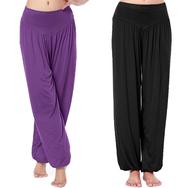 Hot Sale Women Long Pants Harem Youga Modal Dancing Trouses Wide Belly Dance <font><b>Comfy</b></font> Boho Pants 16colors