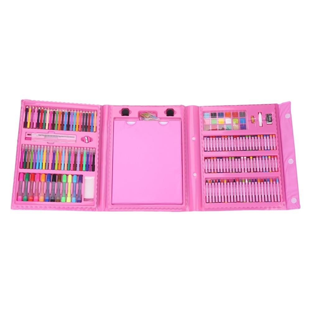 Art dessin huile Pastel Crayon couleur enfants Crayon marqueur stylo gomme brosse peinture ensemble Kit rose croquis ensemble dessin crayons