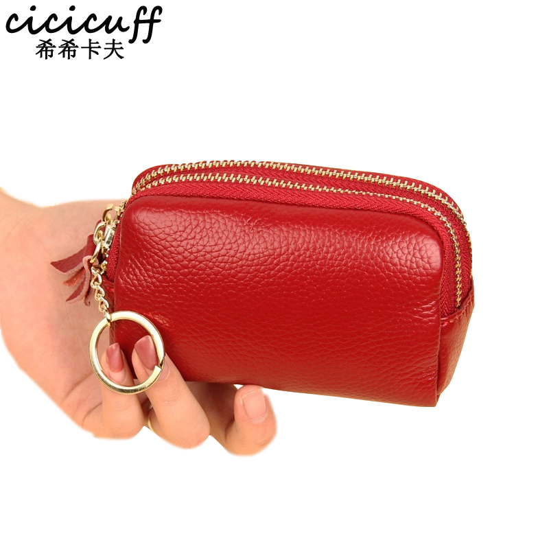 2019 New Women Genuine Leather Mini Bag Coin Purse Double Zipper Real Leather Key Wallet Simple Female Money Holder Change Purse