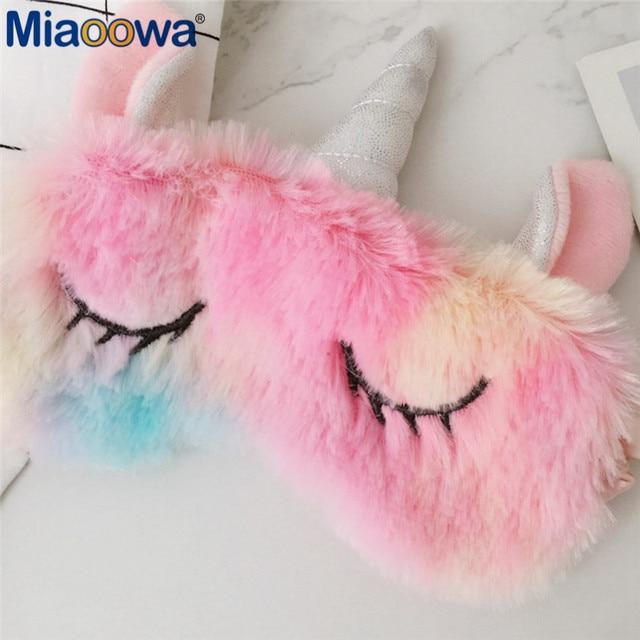 1pc Kawaii Ice cream Rainbow Unicorn Eye mask Headband Colorful Plush Toy soft animal stuffed Kawaii