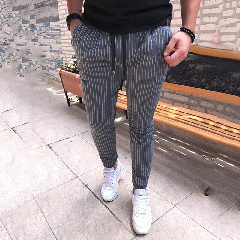 2018 Casual Drawstring Lace Up Trousers New Striped Pencil Pants Mens Male Fashion Breathable All-match Trousers