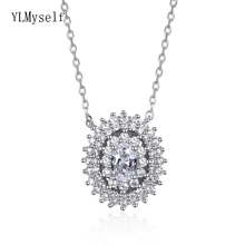 Latest design Real 925 Sterling Silver Necklace White Cubic Zirconia Oval shape Chain Jewelry for women
