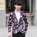 2017 chegada Nova primavera Homens Blazer impresso Slim Fit mens blazer dos homens de Negócios de Moda casual blazer masculino blazer floral
