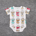 1pcs new 2016 summer ins baby clothes ice cream print infants girls bodysuit casual cartoon pattern baby bodysuit boys newborn