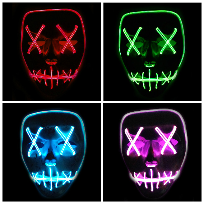 LED Light Up Flashing Skull Mask Skeleton Halloween Rave Party Favor Cosplay parti malzemeleri Glow Party Supplies DA