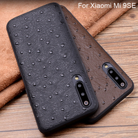Genuine Leather Half pack phone case For Xiaomi Mi 9SE Ostrich Pattern Cases For Xiaomi Mi 9 SE Protection Shell back cover