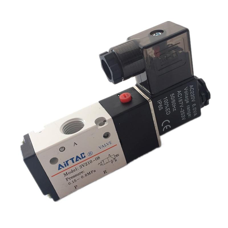 Free shipping 3V210-08 Pneumatic solenoid valve 2/3way 1/4 ,220VAC 24VDC ,Pneumatic components ,air valve,
