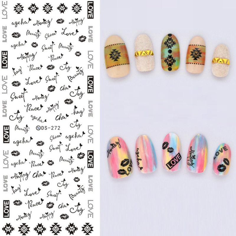 1 sheet nail water decal transfer stickers nail art decoration butterfly feather christmas patterns 684 in stickers decals from beauty health on