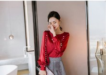 Fashion Elegant Pearls Split Shirts Lantern Sleeve Satin Blouse Women Office Lady Shirt Hollow Out Blusas Tops