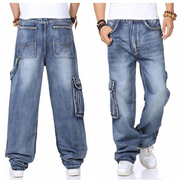 41752631f0f Mens Cargo Jeans Pants Wide Leg Loose Fit Jeans For Men Hip Hop Baggy Jeans  Homme