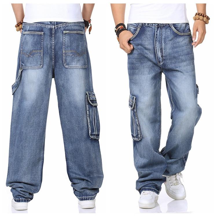 Mens Cargo   Jeans   Pants Wide Leg Loose Fit   Jeans   For Men Hip Hop Baggy   Jeans   Homme Men's Denim Harem Trousers Plus Size 42 44 46