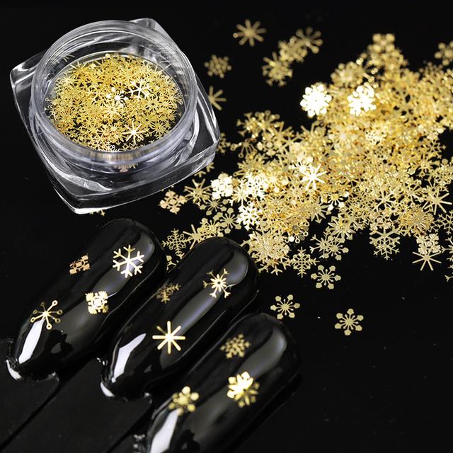 1 Box Gold Snowflake Nail Sequins