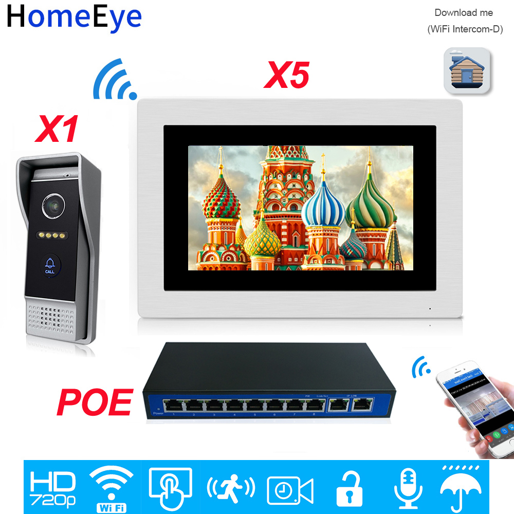 720P WiFi IP Video Door Phone Video Intercom Android/IOS APP Remote Unlock Home Access Control System 1-5 +POE Switch Wholesale