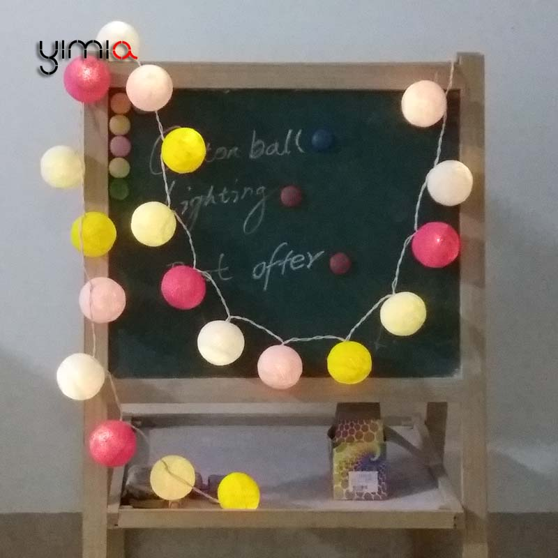 YIMIA 35 Cotton Ball Lights 20 LED Christmas Holiday Lights LED Fairy Light String Garlands Wedding Childrens Room Decorations